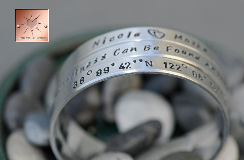 Gift for Mom Personalized Hand Stamped Custom Aluminum Bangle Cuffs Set of Three