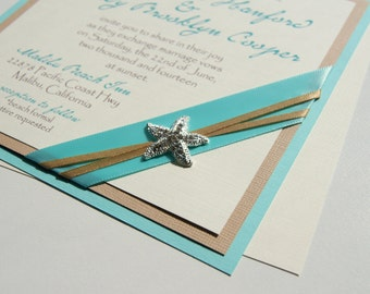 Chloe's Beach Custom Rhinestone Starfish wedding invitation