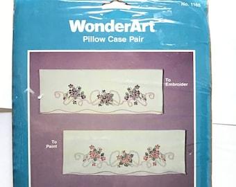 Wonder Art 1165 Violets  Pillow Cases to Embroider