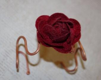 Felt Scarlet Rose Copper Wave Bracelet