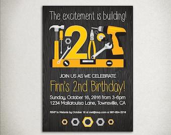 INVITATION Printable Birthday Party Invitation - construction tools, woodgrain, hammer drill screwdriver, grey yellow orange black, modern