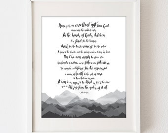 Printable DIY 20 x 24 poster art sign - Quote -John Wesley - Money is a gift from God - Mountains - black and white - typography