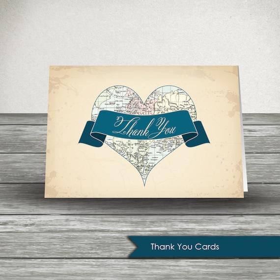 Vintage Map Card VM-012 Wedding Thank You Travel Card Wanderlust Calligraphy Map Thank You Thank You Card World Map Card