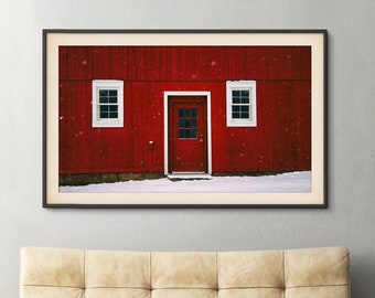 Red Barn Print | Country, Rustic, Winter, Snowy Landscape, Nature Photograph, Wall Decor, Wall Art