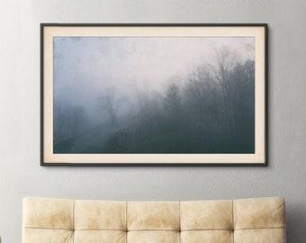 Foggy Morning Trees Print | Soft Nature Subtle Woods Photography