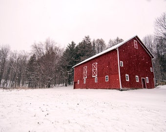 Snowy Red Barn Print | Country, Rustic, Winter Landscape, Nature Photograph, Wall Decor, Wall Art