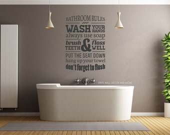 Bathroom Rules Decal- Brush Floss