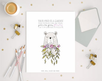 Inspirational Quote. Your Mind is a Garden. Modern kids prints