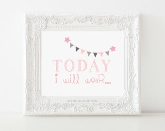 Today I Will Wear Print- Girls Room Print Glitter Stars