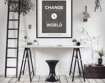 Change your thoughts Print.  Inspirational Print.  Law of Attraction.  The Secret.