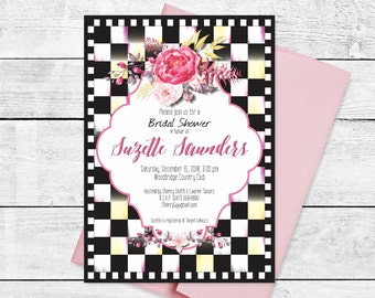 Checked Bridal Luncheon Tea Shower Rehearsal Dinner Invitation Checkered