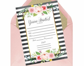 Black White Stripe Floral Party Invitation Bridal Shower Birthday Party Watercolor