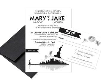 New York City Skyline Wedding Invitation / NYC Invitation / Skyline Invitation