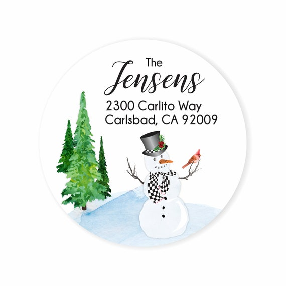 snowman checked round christmas address labels stickers etsy