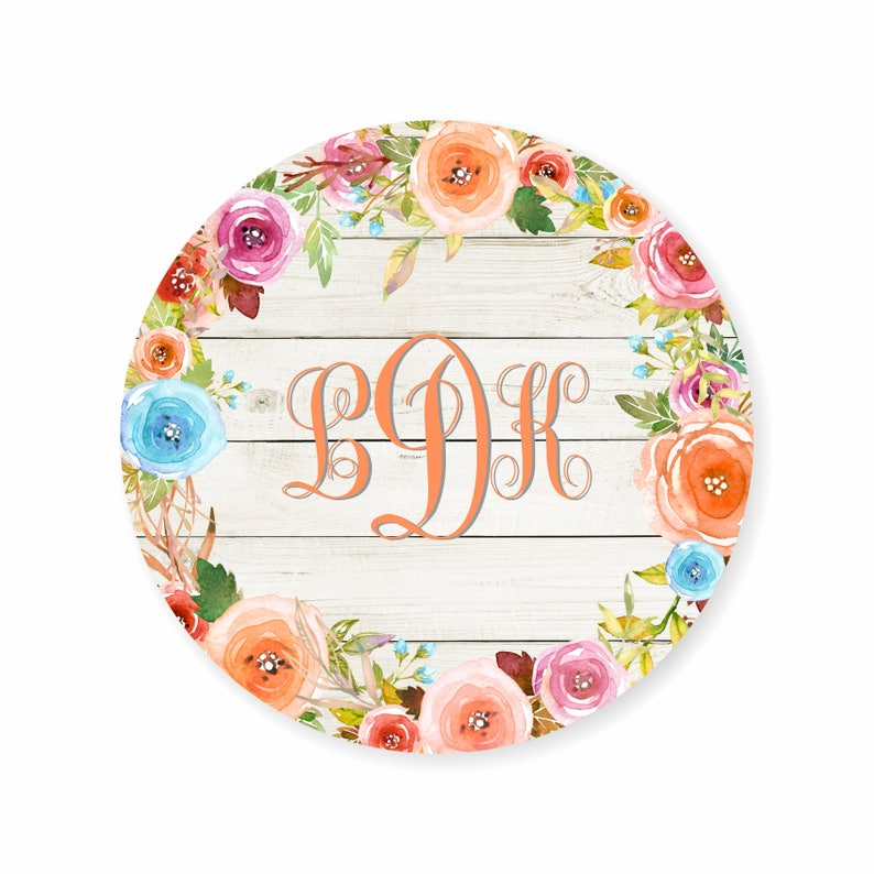 Monogram Watercolor Floral Wreath Personalized Address Labels Stickers