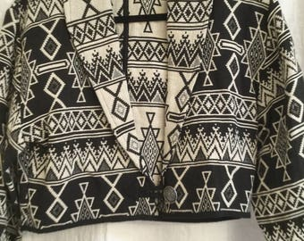 Flashback Small Jacket Aztec Southwest Print Western Tapestry Black and White