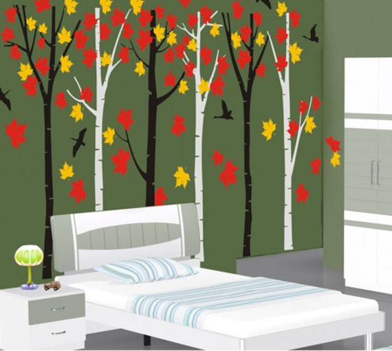 forest wall decals wall stickers nature room decor wall decor | etsy