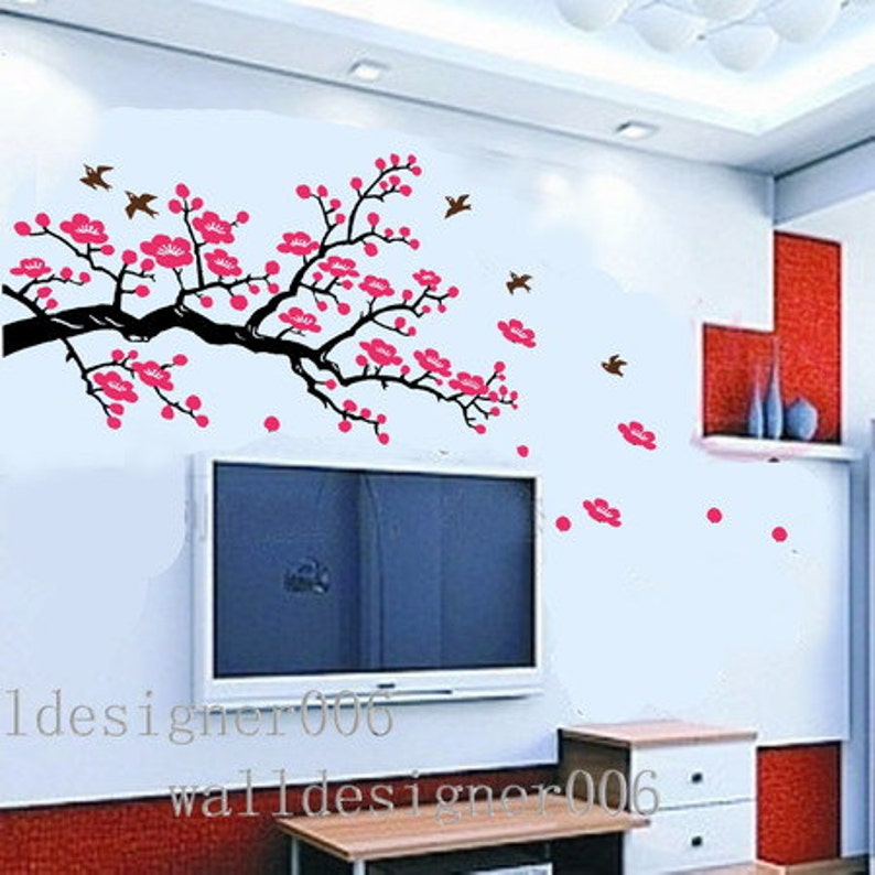 cherry blossom wall decal wall sticker pink flower decal tree | etsy