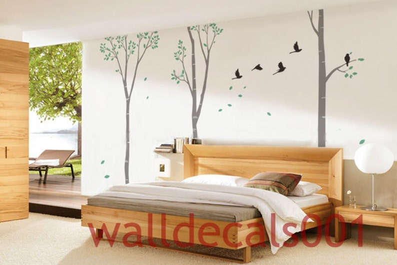 Birch Tree Wall Decal Wall Sticker Nature room decor Birds decal decor art Birch tree with birds