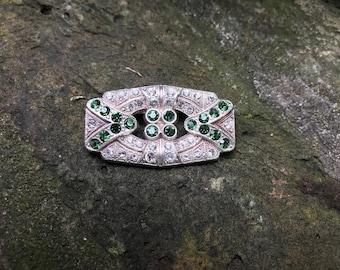 Deco Pin with Tourmaline Green Diamanté