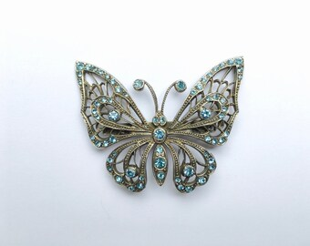 Butterfly Brooch with Aquamarine Stones