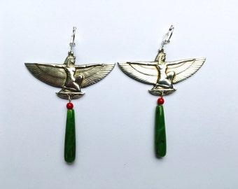 Egyptian Goddess Earrings With Nephrite