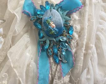 Ooak handmade brooch sea goddess