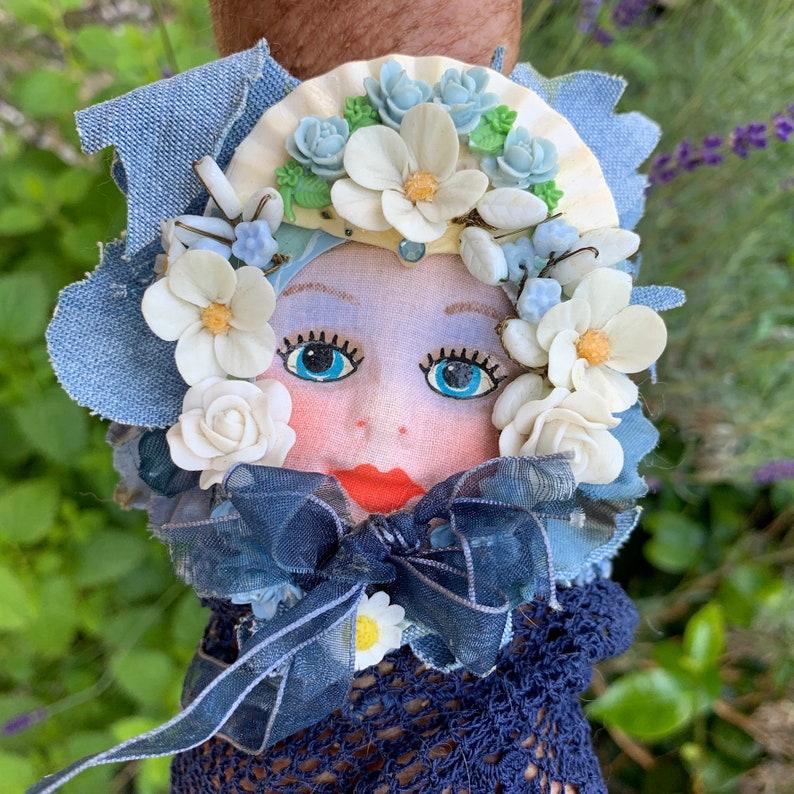 Ooak handmade in France jeans s cuff bracelet pretty doll
