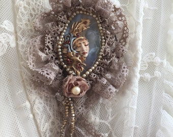 Ooak handmade statement victorian  brooch guardian angel on jaspe