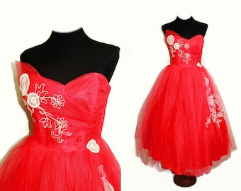 116959aa578 ASYMMETRIC TULLE Prom DRESS 1950 Vintage Red   WHiTE Floral Rhinestones  Strapless Formal Party Rockabilly Pinup Skirt Swing 1940 1960
