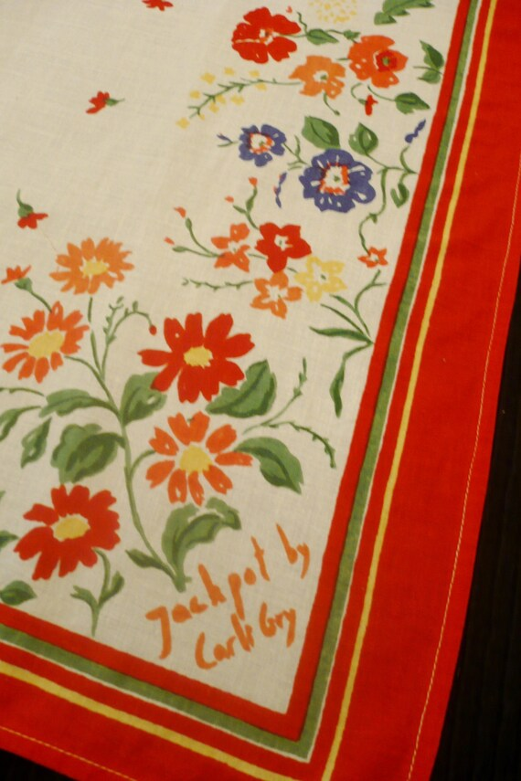 BiG JACKPOT CARLI GRY Vintage Cotton SCaRF Flowers Red White   Etsy ffea2f0fab9