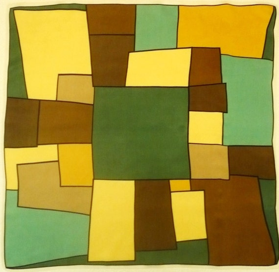 MONDRIAN StYLE Vintage GREEN SATiN SQuARE SCARF Abstract Art   Etsy 0e44f547f22