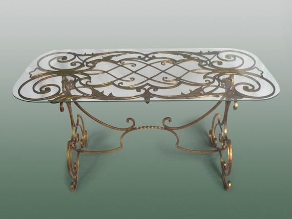 Salon Tafel 50s.Rare Table 1940 S 40 Salon Fer Forge Dore Art Deco Tafel Poillerat Arbus Subes Decoration Gold 1950 1940