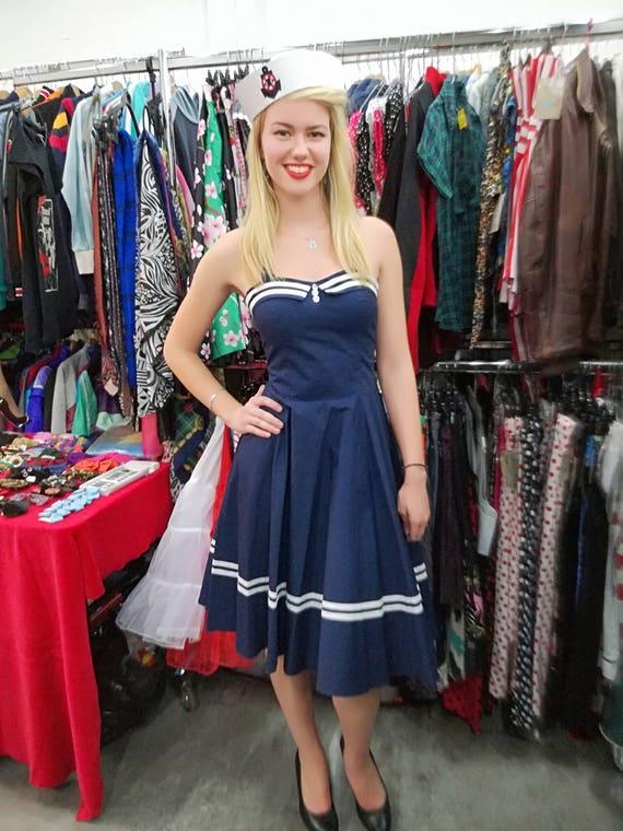 0ddfcb953af NAUTICAL SAILOR DRESS Blue Red Black 1950 Vintage STyLE