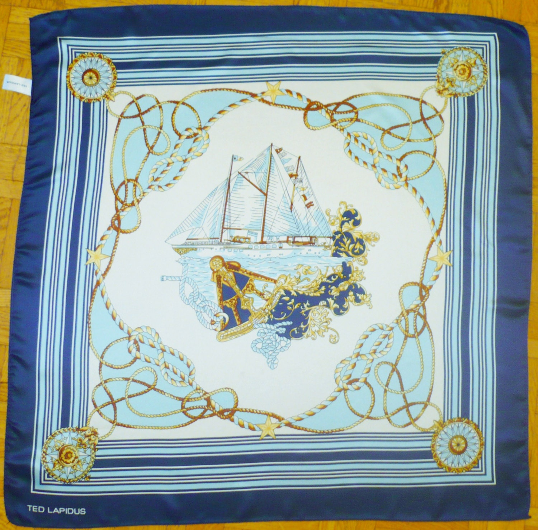TED LAPIDUS BOAT   Rope Vintage 1960 ScARF Blue White Marine   Etsy 5206b15c61c