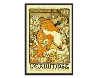 Art Nouveau print - by Paul Berthon -  Magazine cover for Parisian L'Ermitage,P020