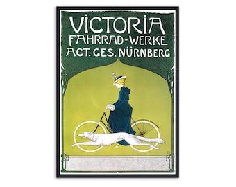 Vintage bicycle poster - Art nouveau poster - Bicycle art - Fritz Rehm - Art nouveau print, Bicycle ads, P030