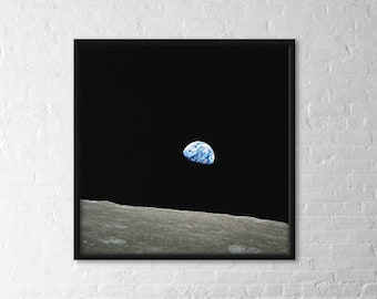 """Vintage Photography """"Earthrise"""" - large wall art, space photography - Earth photo - print on canvas LARGE - ready to hang"""