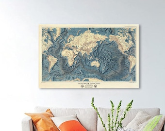 World map wall art - The Floor of The Oceans (1976) - large print, 100