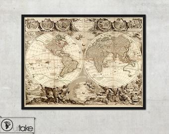Old map - World map (1708) - Framed print - Jean Baptiste Nolin, 115
