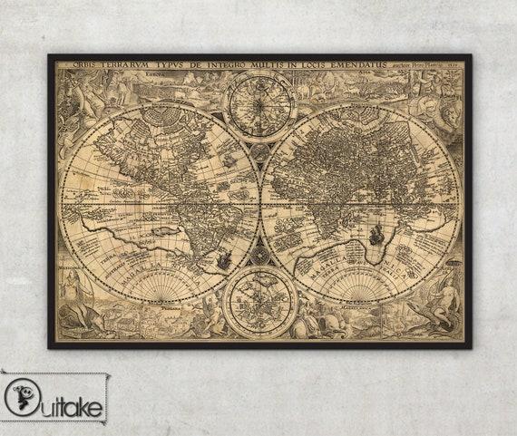World Map Wall Art Framed Print Orbis Terrarum Typus De Etsy