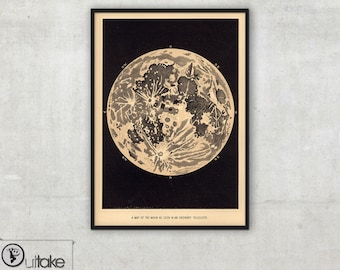 Wall decor - Old maps - Telescopic View of the Moon (1870), 056
