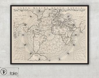 Ancient Nautical map - Nautical Map Art - Nautical World Wall Map - Navigation chart - Antique Nautical Map, 085