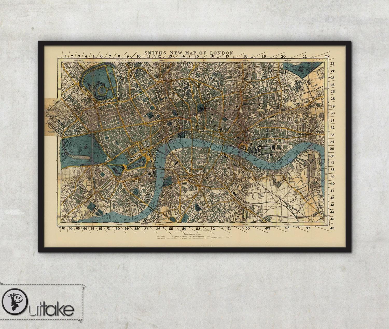 Antike Karte Smiths neue Karte von London gerahmt Druck | Etsy