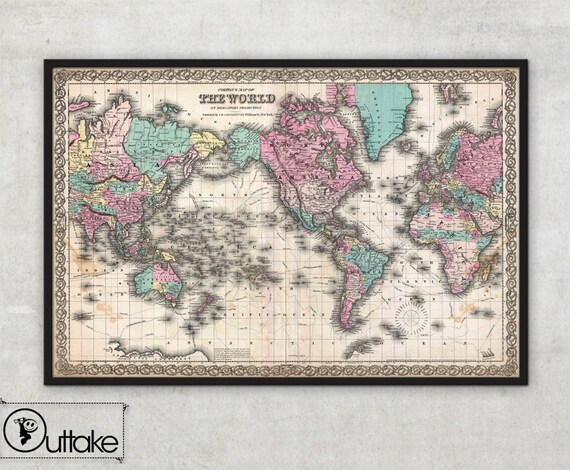 World Map Wall Art Framed Print Colton World Map Etsy