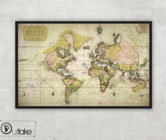 World Map Wall Art Pierre Mortier Poster Carte Generale Etsy