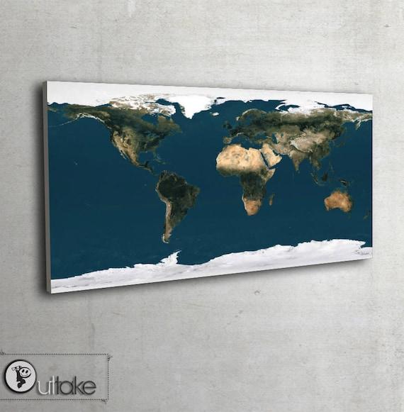 Dekoracja Scienna Mapa Swiata Satelitarna Mapa Ziemi 2008 Etsy