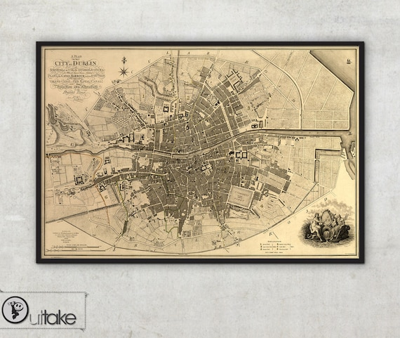 Old Maps Plan Of Greater Dublin Including Circular Roads Etsy - Old maps of dublin