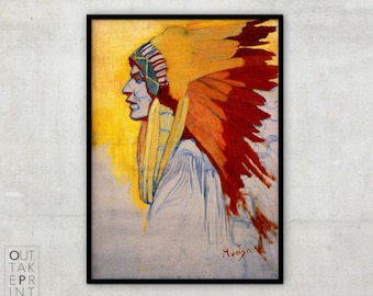 Indian Sioux Study By Alphonse Mucha, Art Nouveau painting, Alphonse Mucha art