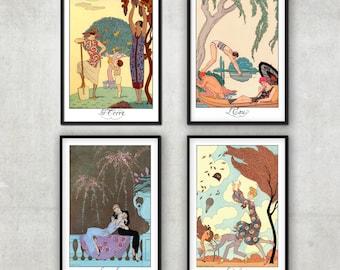 Set of 4 Art Deco illustrations  - The Four elements - by George Barbier - Art Deco print
